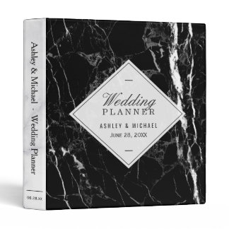 Trendy Black White Marble Texture Wedding Planner 3 Ring Binder