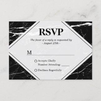 Trendy Black White Marble Wedding RSVP