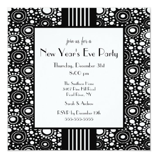Trendy Black & White New Year's Eve Invitation