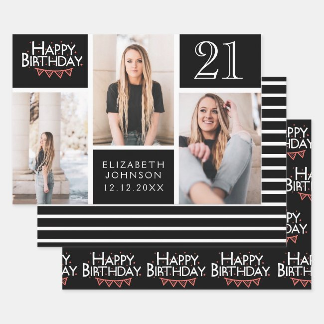 Trendy Black White Photo Collage 21st Birthday Wrapping Paper Sheets