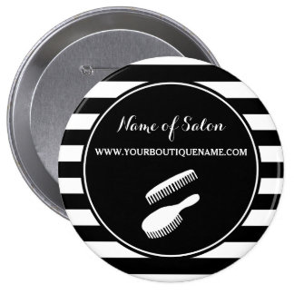 Trendy Black White Stripes Hair and Beauty Salon 4 Inch Round Button