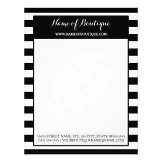 Trendy Black White Stripes Hair and Beauty Salon Letterhead