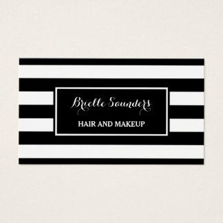 Trendy Black White Stripes Hair and Makeup Artist Business Card