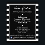 """Trendy Black White Stripes Hair Salon Events Flyer<br><div class=""""desc"""">Personalize this beauty salon special events flyer with a trendy black and white wide horizontal stripes by adding the name of your boutique and contact information. Personalize by adding the name of your boutique and contact information to this contemporary black and white striped pattern. All text in this template can...</div>"""