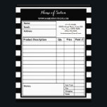 "Trendy Black White Stripes Hair Salon Order Forms Letterhead<br><div class=""desc"">Complete boutique orders with these trendy black and white wide horizontal stripes hair and beauty salon order forms. Personalize by adding the name of your salon and contact information to this contemporary black and white striped pattern.</div>"