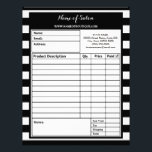"""Trendy Black White Stripes Hair Salon Order Forms Letterhead<br><div class=""""desc"""">Complete boutique orders with these trendy black and white wide horizontal stripes hair and beauty salon order forms. Personalize by adding the name of your salon and contact information to this contemporary black and white striped pattern.</div>"""