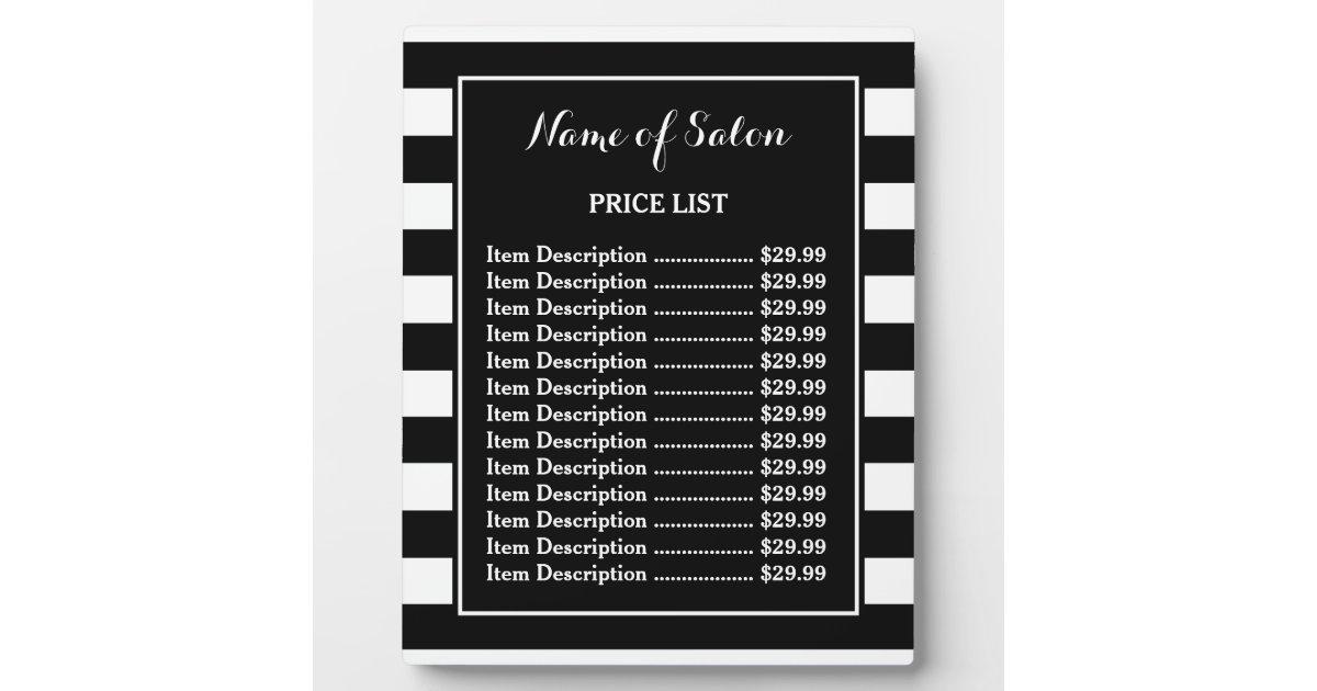 Trendy Black White Stripes Hair Salon Price List Plaque | Zazzle