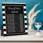"Trendy Black White Stripes Hair Salon Price List Plaque<br><div class=""desc"">Advertise special sales at your salon with this trendy black and white wide horizontal stripes hair and beauty boutique price list plaque. Personalize by adding the name of your salon and item description and price tags to this contemporary black and white striped pattern.</div>"