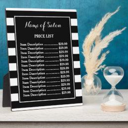Trendy Black White Stripes Hair Salon Price List Plaque