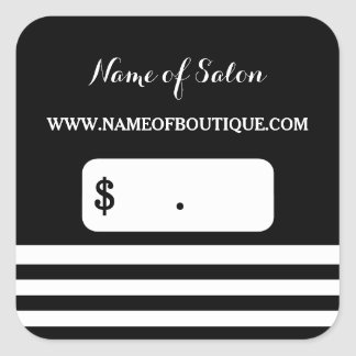 Trendy Black White Stripes Hair Salon Price Tags