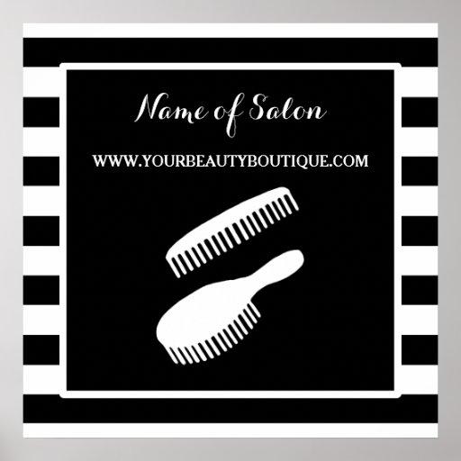 Trendy black white stripes hair salon sign poster zazzle - Vitrine salon de coiffure ...