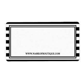 Trendy Black White Stripes Hair Salon Website Label