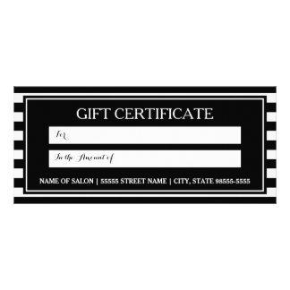 Trendy Black White Stripes Salon Gift Certificate