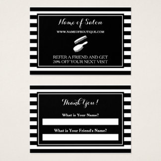 Trendy Black White Stripes Salon Referral Coupon Business Card