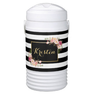 Trendy Black White Stripes Vintage Floral Decor Beverage Cooler
