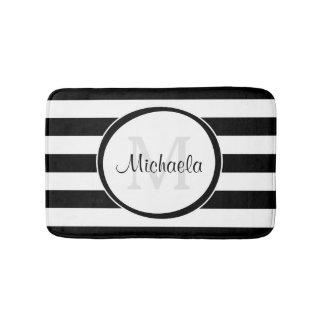 Trendy Black White Stripes With Monogram and Name Bath Mats