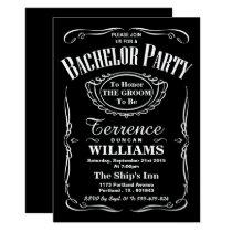 Trendy Black & White Typography Bachelor Party Invitation