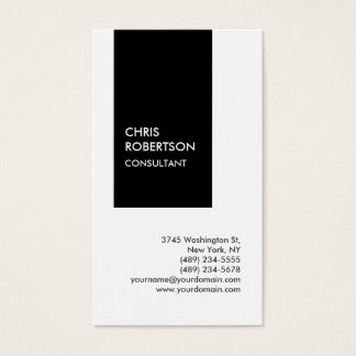 Trendy black white vertical unique business card