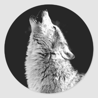 Trendy Black White Wolf Howling Moon Photo Sticker