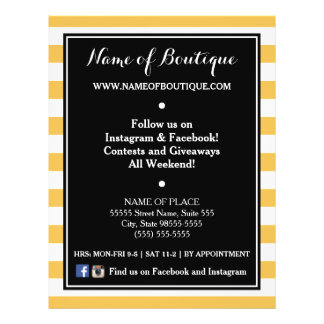 Trendy Black Yellow Stripes Boutique Events Flyer