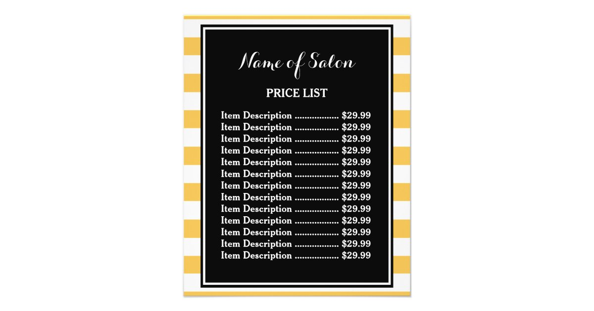 trendy black yellow stripes boutique price list flyer
