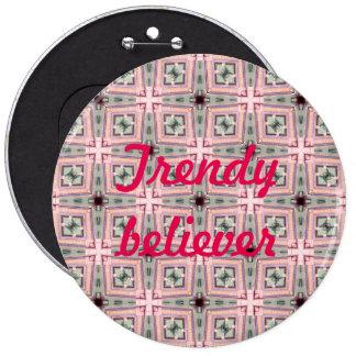 trendy bleliever cross pattern pinback button