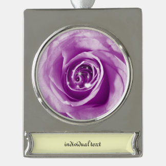 trendy bling on rose,lilac (I) Silver Plated Banner Ornament