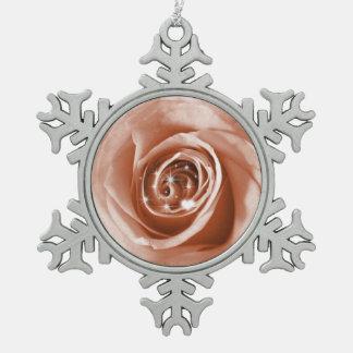 trendy bling on rose,soft peach (I) Snowflake Pewter Christmas Ornament
