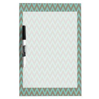 Trendy Blue and Gray Chevron Stripes Zig Zags Dry-Erase Boards