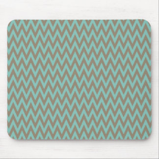 Trendy Blue and Gray Chevron Stripes Zig Zags Mouse Pad