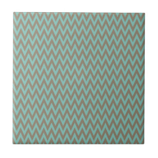 Trendy Blue and Gray Chevron Stripes Zig Zags Tile