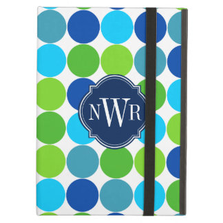 Trendy Blue and Green Polka Dot Pattern Monogram iPad Folio Cases
