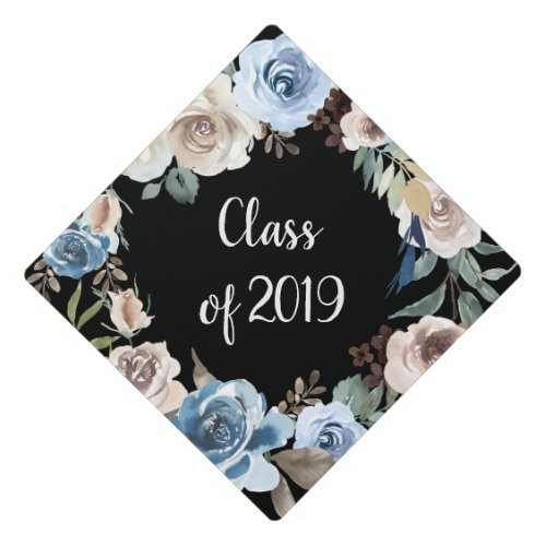 Trendy Blue and Neutral Floral  Class of 2019 Graduation Cap Topper