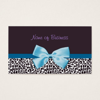 Trendy Blue And Purple Leopard Print With Ribbon Business Card