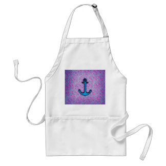 Trendy Blue and Purple Pastel Heart Anchor Adult Apron