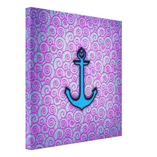Trendy Blue and Purple Pastel Heart Anchor Gallery Wrap Canvas