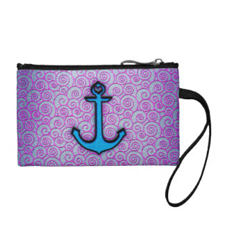 Trendy Blue and Purple Pastel Heart Anchor Coin Purse