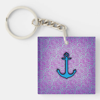 Trendy Blue and Purple Pastel Heart Anchor Keychain