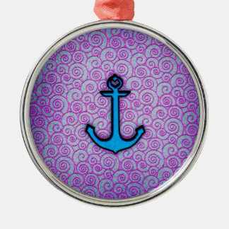 Trendy Blue and Purple Pastel Heart Anchor Round Metal Christmas Ornament