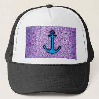 Trendy Blue and Purple Pastel Heart Anchor Trucker Hat