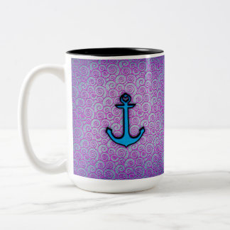 Trendy Blue and Purple Pastel Heart Anchor Two-Tone Coffee Mug