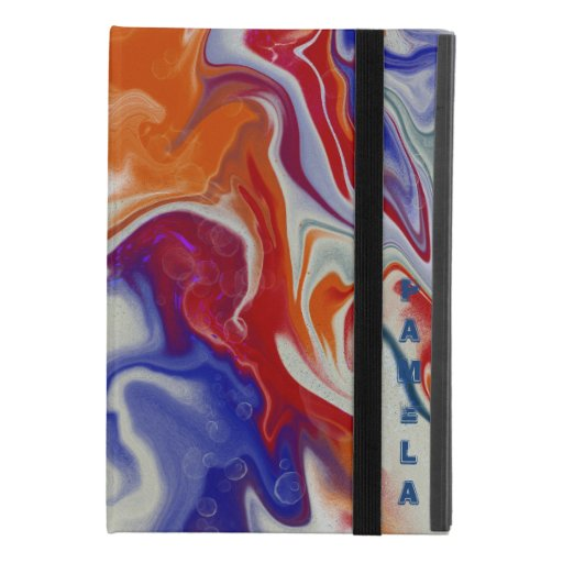 Trendy Blue and red marbling design iPad Mini 4 Case