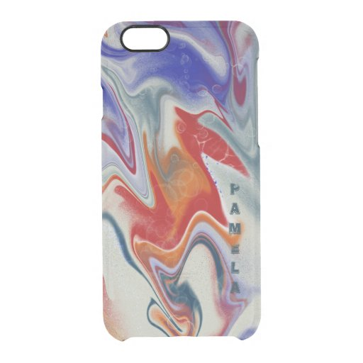 Trendy Blue and red marbling design Clear iPhone 6/6S Case