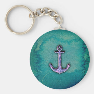 Trendy Blue and teal watercolor Heart Anchor Basic Round Button Keychain
