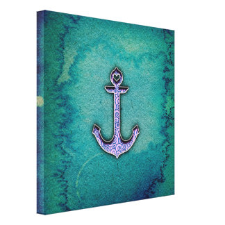 Trendy Blue and teal watercolor Heart Anchor Gallery Wrap Canvas