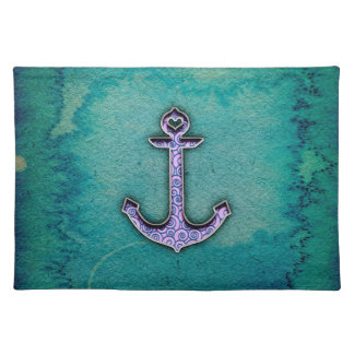 Trendy Blue and teal watercolor Heart Anchor Cloth Placemat