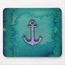 Trendy Blue and teal watercolor Heart Anchor Mouse Pad