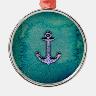 Trendy Blue and teal watercolor Heart Anchor Round Metal Christmas Ornament