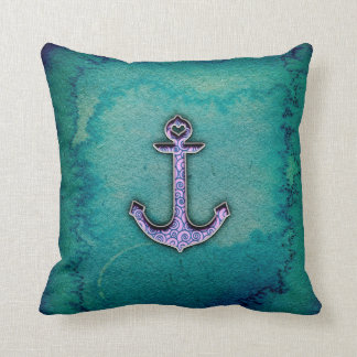 Trendy Blue and teal watercolor Heart Anchor Throw Pillow