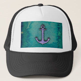 Trendy Blue and teal watercolor Heart Anchor Trucker Hat